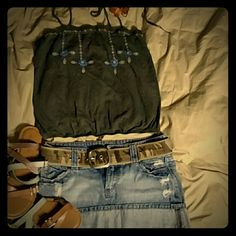 Aerie crop top tank Blueish greyish color..boho style top! Love for summer days. Straps tie at back together so you can adjust however needed. Stretchy banded at bottom. aerie Tops Crop Tops