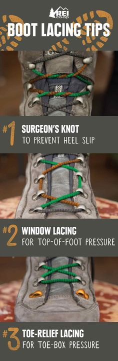 REI Expert Advice: How to Lace Hiking Boots - Three ways to lace your boots to help relieve foot discomfort #hikingadvice