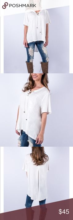 ❤️NWT❤ Flowing Chic & Comfort Lace up shirt! ❤NWT❤ SUPER SOFT Flowing Chic & Comfort Lace Up Shirt. High-low cut and incredibly soft! I ❤ wearing this everywhere because it's cute and comfortable so can go everywhere! ENJOY!!! Tops