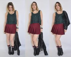 Look com saia plissada, body chain e botas - Luta do Dia