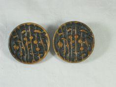 Vintage Bakelite Buttons Carved Black & Caramel Set of 2  by LavenderGardenCottag