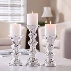 Better Homes and Gardens Ceramic Metallic Pillar Candle Holders, Set of 3 - Walmart.com