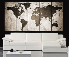 Retro WORLD MAP Canvas Print Art Drawing on Old Wall - Watercolor World Map 5 Piece Canvas Art Print - Ready to Hang - Colorful World Map