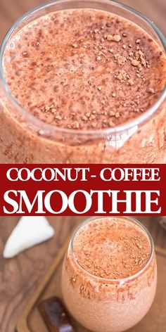 Rich and creamy, this Coconut Coffee Smoothie, full of coconut-chocolate flavor, is a HEALTHY and DELICIOUS way to start your day! Cooktoria for more deliciousness! Coffee Smoothie Recipes, Apple Smoothies, Coffee Recipes, Healthy Smoothies, Healthy Drinks, Healthy Snacks, Healthy Recipes, Kefir Recipes, Smoothies With Coconut Milk