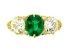 Emerald carved ring, circa 1900