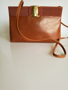 b8617d8c5553 SALVATORE FERRAGAMO Vintage Tan   Brown Shoulder   Crossbody Bag   Clutch  by DelpheneAvenue on Etsy