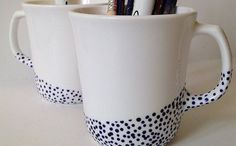 Tazas decoradas con pintura para loza