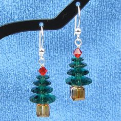 Swarovski 4 Tiered Christmas Tree Earrings by HealingGemsJewelry