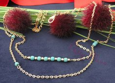 Gold Filled Layered Turquoise Necklace Turquoise Bar by PrettyMaNa