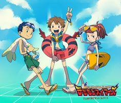 Takato, Rika and Henry from Digimon Tamers Anime Fnaf, Manga Anime, Anime Art, Cartoon Up, Digimon Seasons, Digimon Wallpaper, Digimon Frontier, Digimon Tamers, Digimon Digital Monsters