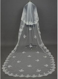 Wedding Veils - $59.99 - Two-tier Cathedral Bridal Veils With Lace Applique Edge  http://www.dressfirst.com/Two-Tier-Cathedral-Bridal-Veils-With-Lace-Applique-Edge-006034439-g34439