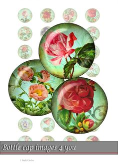 bottle cap images - vintage rose - 1 inch circles for for resin jewelry, button and magnet crafts. Digital Collage Sheet