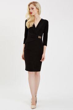 Black 3/4 Sleeve Wrap Dress | Jane Norman