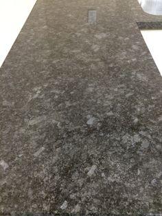 Steel Gray granite countertop in Master bathroom Grey Granite Countertops, Granite Kitchen, Black Counters, Updated Kitchen, New Kitchen, Kitchen Ideas, Leather Granite, Fantasy Brown Granite, Kitchen And Bath Remodeling