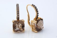 LeVian Smoky Quartz and Chocolate Diamonds Earrings 14 KT Solid Yellow Gold | eBay