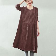 Retro Loose Long Sleeve Cotton Linen Dress