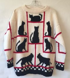 "VTG Hand Knit Ugly Sweater Black Cats Silhouette 45"" Chest M / L Unisex Cat Lady #Handmade #Crewneck #Any"