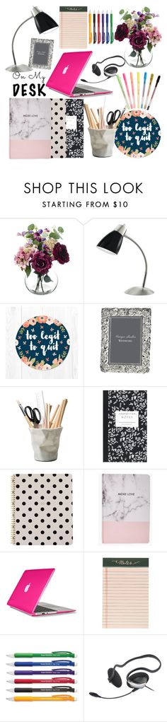 """""""My desk"""" by eabuchheister ❤ liked on Polyvore featuring interior, interiors, interior design, home, home decor, interior decorating, Waterford, ESSEY, Dot & Bo and Kate Spade"""