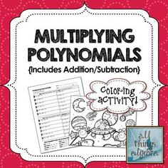 Add and Subtract Polynomials Coloring Worksheet | Worksheets, Coloring ...