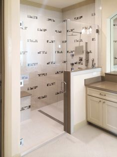 Master Bathroom Knee Wall this is a good example of a heavy glass shower with a knee wall