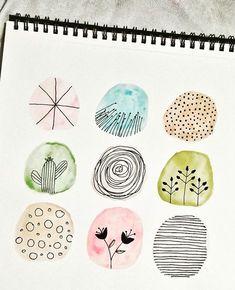 Watercolor Lettering, Watercolor Sketch, Watercolor And Ink, Watercolour Painting, Watercolours, Easy Doodle Art, Bullet Journal Lettering Ideas, Watercolor Plants, Flower Doodles