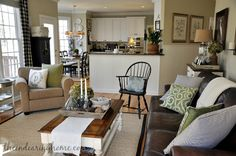 Updated Family Room Tour white beadboard, love the wall color as well, Sherwin Williams Ramie