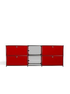 USM Haller sideboard in ruby red with two extension doors, two drop-down doors and two glass doors. www.usm.com