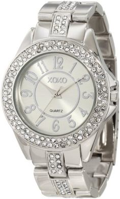 XOXO Women's XO5463 Rhinestone Accent Silver-Tone Analog Bracelet Watch - Find Me The Cheapest Sale Price: $19.99