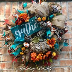 """Fall Wreath Leopard Fall Wreath Fall Wreath collection – by Holiday Baubles – 26 """"bu … – Trendy Tree Creations – Wreaths Thanksgiving Wreaths, Autumn Wreaths, Thanksgiving Decorations, Holiday Wreaths, Spring Wreaths, Summer Wreath, Wreath Fall, Fall Decorations, Fall Crafts"""