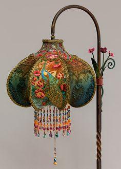 Art Nouveau Peacock Victorian Bridge Lamp and Shade