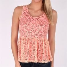 Ten Sixty Sherman Juniors Lace Peplum Tank.