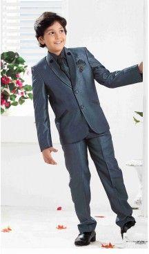 Heavy Tr Fabric Boy's Blazer & Suits In Greenish Blue Color