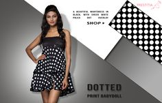 Get beautiful black night dress with white circle dots, a sexy Babydoll for you. Shop online on http://www.prestitia.co.in/details/dotted-print-babydoll-in-black.html