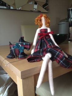 Handmade by me my Scottish Tilda doll and her wee Scottie dog