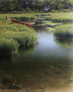 Joseph McGurl - The Red Boat- Oil - Painting entry - February 2017 Landscape Photos, Landscape Art, Landscape Paintings, John Wilson, Classical Realism, River Painting, Painting Competition, Artwork Images, Great Paintings