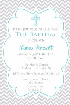 Chevron Baptism Invite Boys Baptism Invitation by MyBellasBowtique Christening Party Favors, Christening Invitations Boy, Baptism Party, Baptism Ideas, Baby Boy Baptism Outfit, Baby Christening, Catholic Baptism, Confirmation, Baptism Invitation For Boys