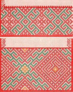 Suomalaisia ompelukoristeita: nrot 8 ja 9 kuosit etupistoilla