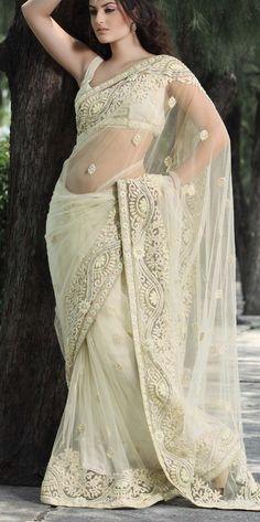 Gorgeous cream net saree for an Indian Christian bride