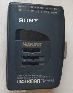 Vintage Retro Sony Walkman AM/FM Radio Cassette Player Tape