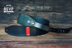 Custom Leather Guitar Strap, Acoustic, Electric, Bass, Dobro, Banjo, Adjustable, Black, Handmade personalized gift. Customize name, initials...