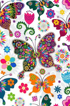 Seamless spring white floral pattern with colorful butterflies and. Butterfly Wallpaper, Butterfly Art, Butterfly Pattern, Butterfly Design, Cellphone Wallpaper, Iphone Wallpaper, Cute Wallpapers, Wallpaper Backgrounds, Graffiti Kunst