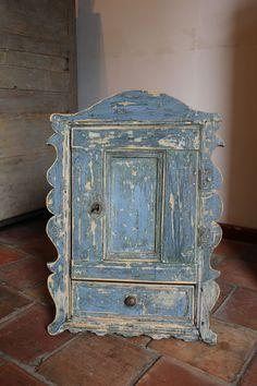 Spice Cupboard in Original Blue Paint - Armoires/Cupboards Oak Furniture Land, Furniture Dolly, Furniture Movers, White Furniture, Cheap Furniture, Antique Furniture, Painted Furniture, Asian Furniture, Gothic Furniture