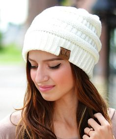 This Ivory Ribbed Beanie is perfect! #zulilyfinds