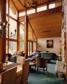 The first post and beam home I designed in Whistler, Canada. The client wanted to poles lathe-turned in this case.  For more photos or this or any other or my homes, please check out my website, www.designma.com, my Design Page, www.facebook.com/loghomedesign  #loghomes #loghomedesign #handcraftedloghomes #whistler