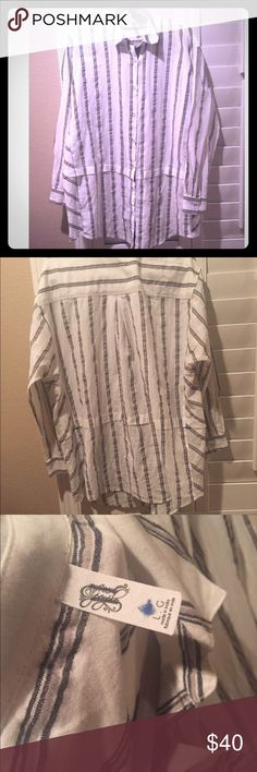 NWOT Free people button down Oversized and adorable. Tag marked to prevent store return. Free People Tops Button Down Shirts