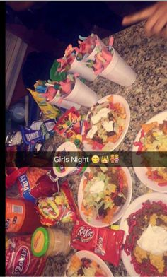 We actually had this kind of girls night. called the boys at 10 to bring us speakers😂😂 Sleepover Snacks, Fun Sleepover Ideas, Sleepover Party, Slumber Parties, Junk Food Snacks, Food Goals, Bff Goals, Friend Goals, Food Cravings