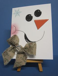 Snow girl card. Made with SU punches, and fabric strip.