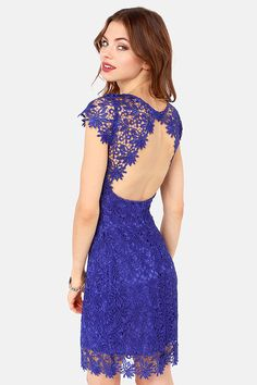 Rubber Ducky Suite Life Backless Royal Blue Lace Dress at LuLus.com! @Tiffany East