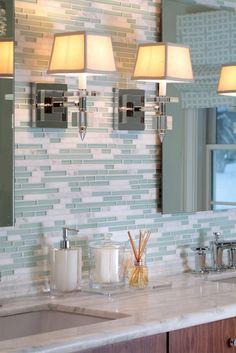 Love this style backsplash wall colors, color design, green walls, light fixtures, kitchen backsplash, master bathrooms, bathroom backsplash, bathroom tiles beach, glass tiles