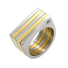 Punk personality 5 layers couple rings for men & women jewelry anel masculino, double color wide ring bague homme anillos mujer Gold Wedding Rings, Wedding Rings For Women, Rings For Men, Stainless Steel Material, Stainless Steel Jewelry, Gold Finger Rings, Gold Skull, Square Rings, Jewelry Rings